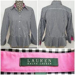 Lauren Ralph Lauren Checkered Button Up Blouse
